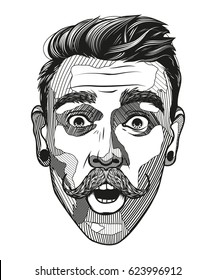 Hipster a man with a mustache looks surprised. Portrait of young man with shocked facial expression. Black and white hand-drawn vector illustration.
