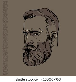 Hipster Man portrait with beard and pattern. Vector. Illustration.