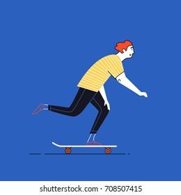 Hipster man riding longboard skateboard.
