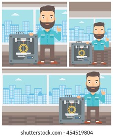 Hipster man standing near three D printer and pointing forefinger up. Engineer using 3D printer. Man working with 3D printer. Vector flat design illustration. Square, horizontal, vertical layouts.