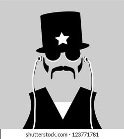 hipster man wearing stylish vintage police hat