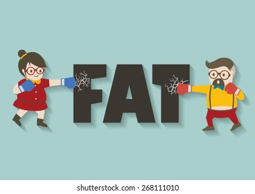 Hipster man and woman punch fat vector cartoon.