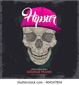 hipster marks, skull cap. Print for T-shirt. HIPSTER skull with cap print for t-shirt. cranium modern street style attributes. Vector art. cranium head for poster.