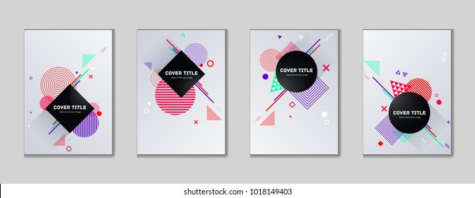 Hipster memphis cover kit. Cool memphis texture front page set with white, red, violet and cyan shapes, isolated on light background. Memphis style cover design set for advertisement purpose.
