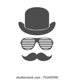 hipster men face in vector