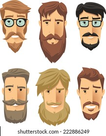 Hipster men wearing cool beard styles. Vector illustration cartoon.