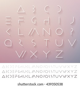 Hipster minimal slim alphabet typeface vector. Thin line futuristic font. English symbols set. Elegant typeset eps. Linear geometric latin letters. Light, medium and hard typefaces.