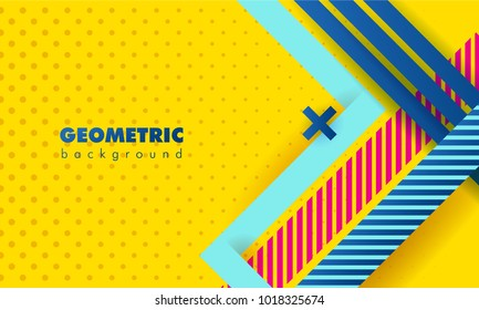 Hipster modern geometric abstract background. Bright yellow banner with blue stripes, textured background. Business template for a bright color. Realistic stripes background.