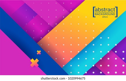 Hipster modern geometric abstract background. Bright gradient, pink and yellow color, texture. Cover template, business presentation.