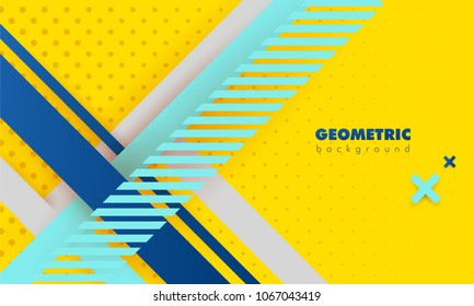 Hipster modern geometric abstract background. Bright yellow banner with blue stripes stripes, textured background. Business template. Geometric yellow background with dots