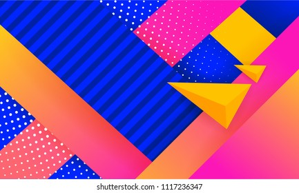 Hipster modern geometric abstract background. Bright gradient, pink and yellow color, texture. Cover template, business presentation background.