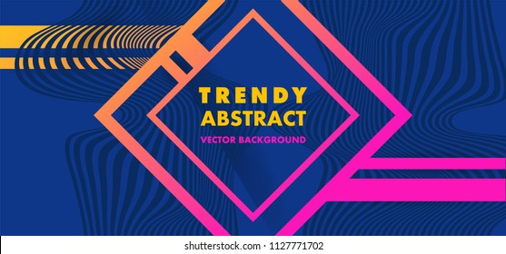 Hipster modern geometric abstract background. Bright blue banner with a trend gradient stripes, textured background. Business template for a bright color. Realistic stripes background.