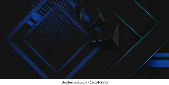 Hipster modern geometric abstract background. Bright black banner with a trend 3d stripes, textured background. Business template for a bright color. Illusion stripes background.