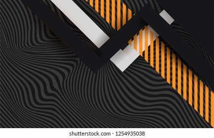 Hipster modern geometric abstract background. Bright black banner with a trend orange and green stripes, textured background. Business template for a bright color. Illusion stripes background.