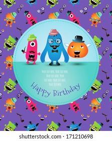 Hipster Monster Happy Birthday Card. Vector Illustration