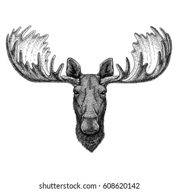 Hipster moose, elk Image for tattoo, logo, emblem, badge design