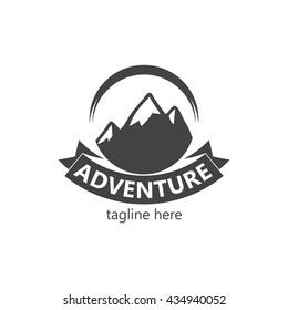 Hipster mountain logo. Hipster badge. Adventure hipster logo.