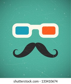 Hipster mustache and 3d cinema glasses. EPS10 vector background.