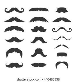 Hipster Mustache Big Set on White Background. Vector illustration