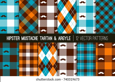 Hipster Mustache Tartan Plaid and Argyle Vector Patterns in Orange, Brown and Blue. Barbershop Style. Humorous Father's Day Backgrounds. Pattern Tile Swatches Included.