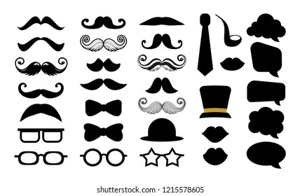 Hipster mustache vector icon set. Moustache photo booth props. Hat, glasses, speech bubble. Vector silhouette. Logo isolated on white background