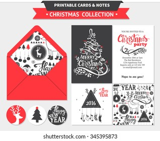 Hipster New Year and Merry Christmas invitation set. Vector printable cards, stickers and banners with dear, santa, tree, snowflake, etc.