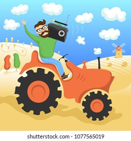 Hipster on the tractor with radio