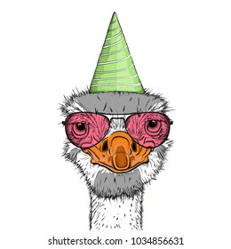 Hipster ostrich in Happy Birthday's cap. Vector illustration