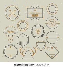 Hipster outline badges and emblems template for logo design
