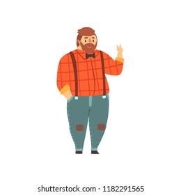 Hipster overweight man in casual clothes, fat guy in fashionable clothes, body positive vector Illustration on a white background