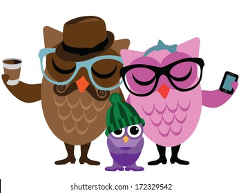 Hipster owl family. EPS 10 vector. grouped for easy editing. No open shapes or paths.