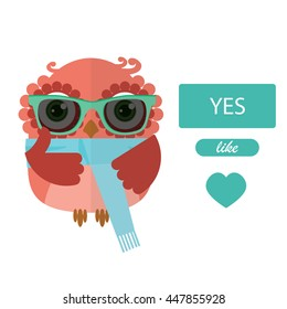 Hipster owl holding thumbs up icon. Like vector.
