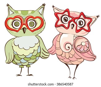 Hipster owls in glasses. Greeting card with cute birds couple. Vector hand drawn illustration