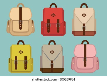 Hipster pack pattern with retro fashion trendy school backpacks, vector illustration. fabric, style, fashion vintage canvas backpacks. Back to school.  EPS 8