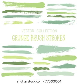 Hipster paint brush strokes vector band, color scheme vintage elements graphic design set. Marker pen traces, highliter hand drawn lines, ink or watercolor paint splashes, horizontal green lines.