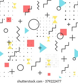 Hipster Pattern Abstract Retro 80's Jumble Geometric Line Shapes. fashion style seamless  background. Vector illustration for textile fabric design, paper and website design