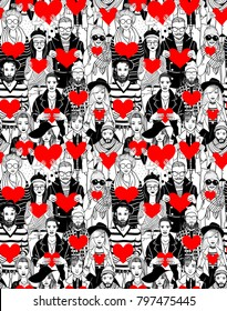 Hipster people, holding hearts in hands. Seamless pattern.