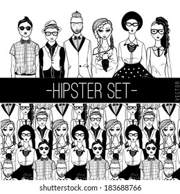 Hipster people set.
