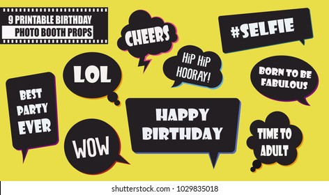 Hipster photo booth props set vector illustration. Collection of  birthday party  speech bubbles. Perfect for photobooth shooting