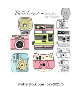 hipster photo camera collection, hand drawn graphic