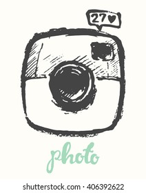 Hipster photo camera, hand drawn vector illustration