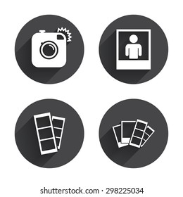 Hipster photo camera icon. Flash light symbol. Photo booth strips sign. Human portrait photo frame. Circles buttons with long flat shadow. Vector
