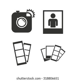 Hipster photo camera icon. Flash light symbol. Photo booth strips sign. Human portrait photo frame. Flat icons on white. Vector