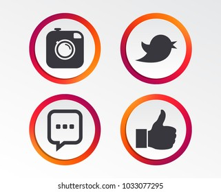 Hipster photo camera icon. Like and Chat speech bubble sign. Hand thumb up. Bird symbol. Infographic design buttons. Circle templates. Vector