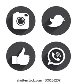 Hipster photo camera icon. Like and Call speech bubble sign. Bird symbol. Social media icons. Circles buttons with long flat shadow. Vector