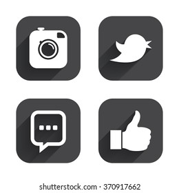 Hipster photo camera icon. Like and Chat speech bubble sign. Hand thumb up. Bird symbol. Square flat buttons with long shadow.