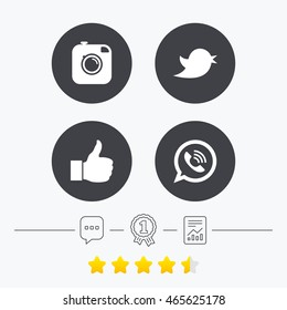 Hipster photo camera icon. Like and Call speech bubble sign. Bird symbol. Social media icons. Chat, award medal and report linear icons. Star vote ranking. Vector