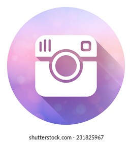 Hipster photo camera icon with long shadow. Vector logo isolated on colorful blured background. EPS10 vector.