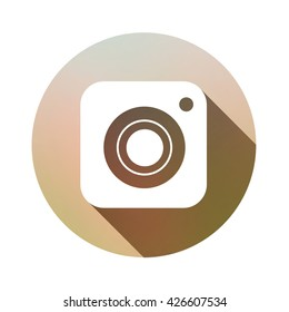 Hipster photo camera icon with long shadow inspired by instagram new logo 2016. Vector illustration icon design for your instagram new icon botton.