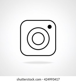 Hipster photo camera line icon on background, inspired by instagram new logo 2016. Vector illustration icon design for your instagram new icon botton.